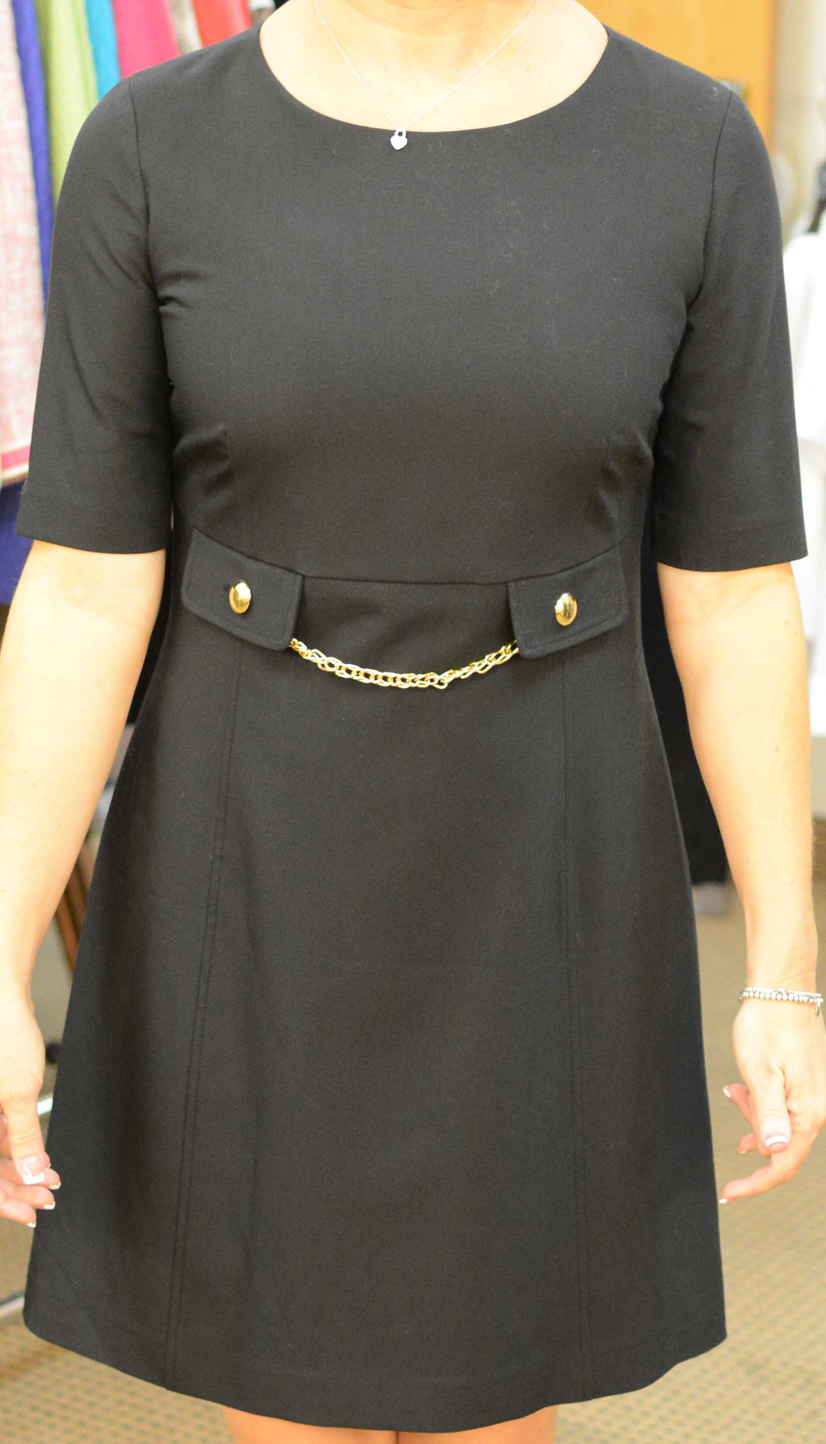 "LD904P - PRM - Ladies Petite Sizes ""Margo Dress"" With Pocket Empire and Gold Chain Accent"