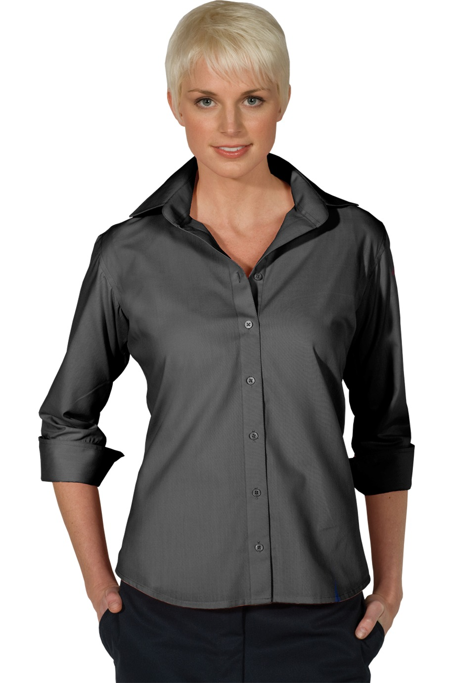 LHE5040-SPG - Ladies V-Neck Button up Poplin 3/4 Length Sleeve