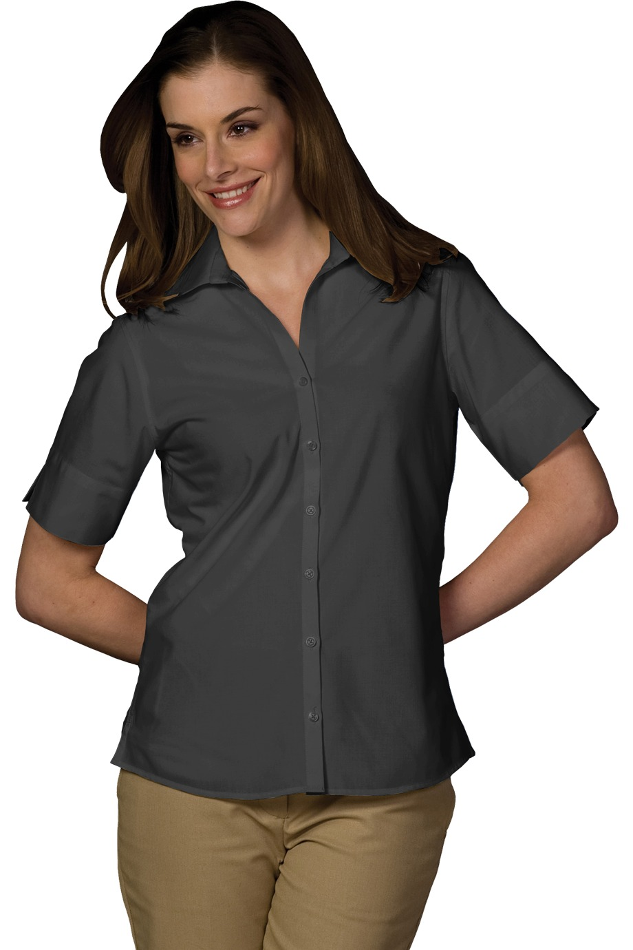 LHE5245-FKEY- Ladies V-Neck Button Up Poplin Short Sleeve Shirt with Notch Cuff. Sizes XXSmall-3XL