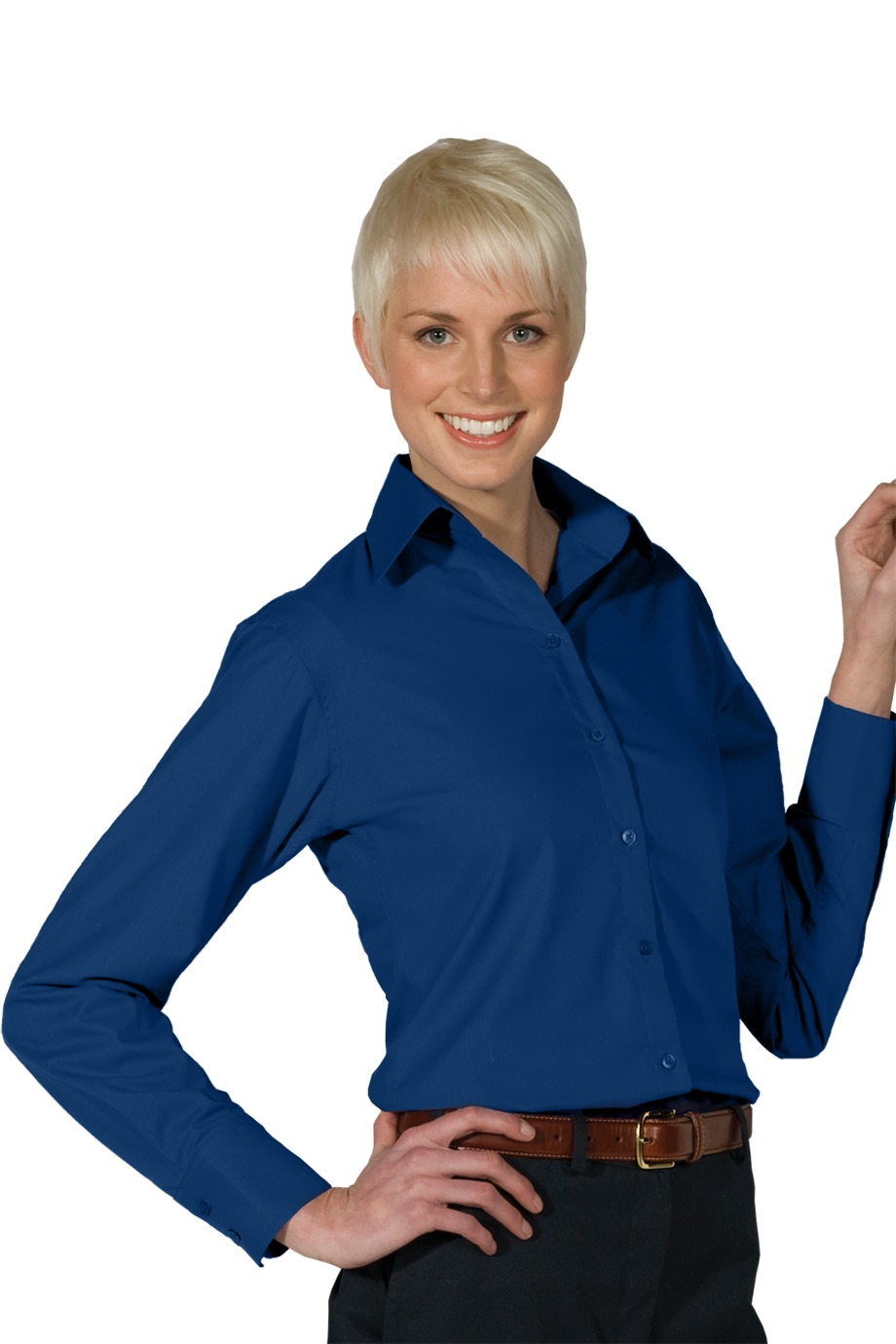 LHE5295-FKEY- Ladies V-Neck Button Up Poplin Long Sleeve Shirt with Notch Cuff. Sizes XXSmall-3XL