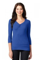LHLM1007-FKEY-Ladies Concept Stretch 3/4-Sleeve Scoop Henley.