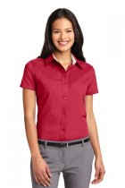 LHP508-DDG- Ladies Short Sleeve Button Up Easy Care Wrinkle Resistant. Sizes XSM - 4X