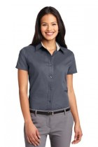 LHP508-SPG - Ladies Short Sleeve Button Up Easy Care Wrinkle Resistant. Sizes XSM - 2XL - Plus 1X, Plus 2X