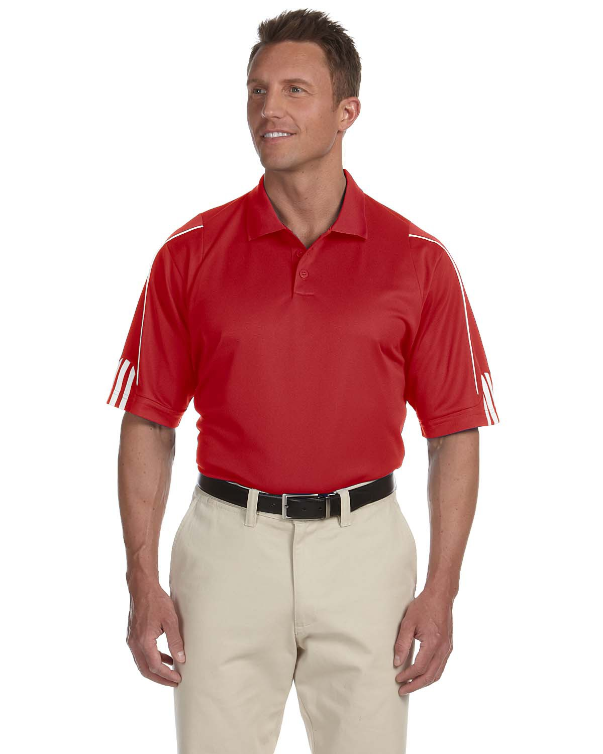 MHAA76-HDS- Mens Adidas Golf Mens ClimaLite® 3 Stripes Cuff Polo