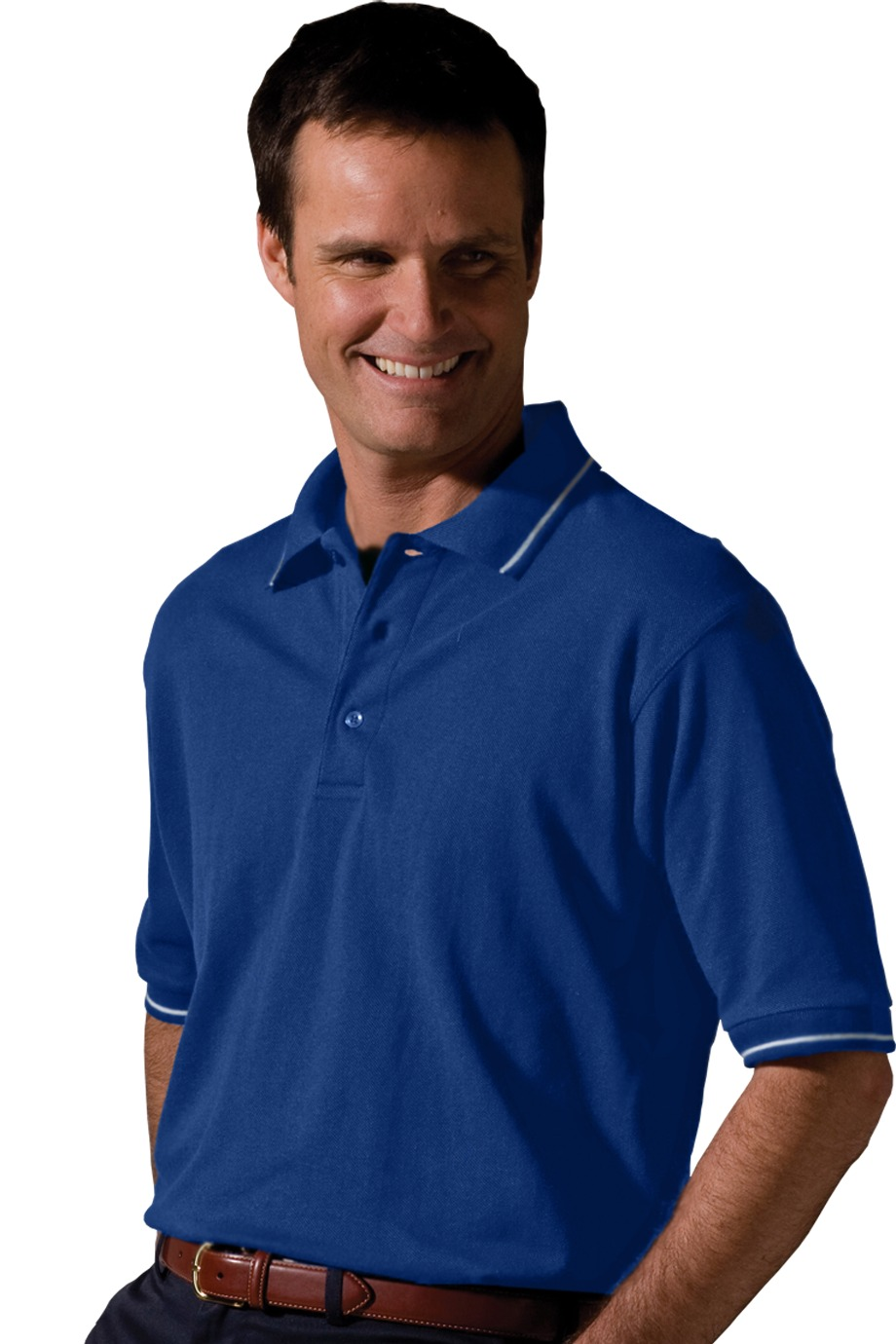 MHE1510-DF-Mens Moisture Wicking Polo Tipped Collar