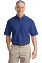 MLP633-DF- Mens Short  Sleeve Wrinkle Resistent Poplin Button Down