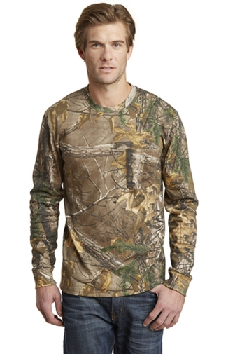 MLSPSS020R-Russell Outdoors™ Realtree® Long Sleeve Explorer 100% Cotton T-Shirt with Pocket