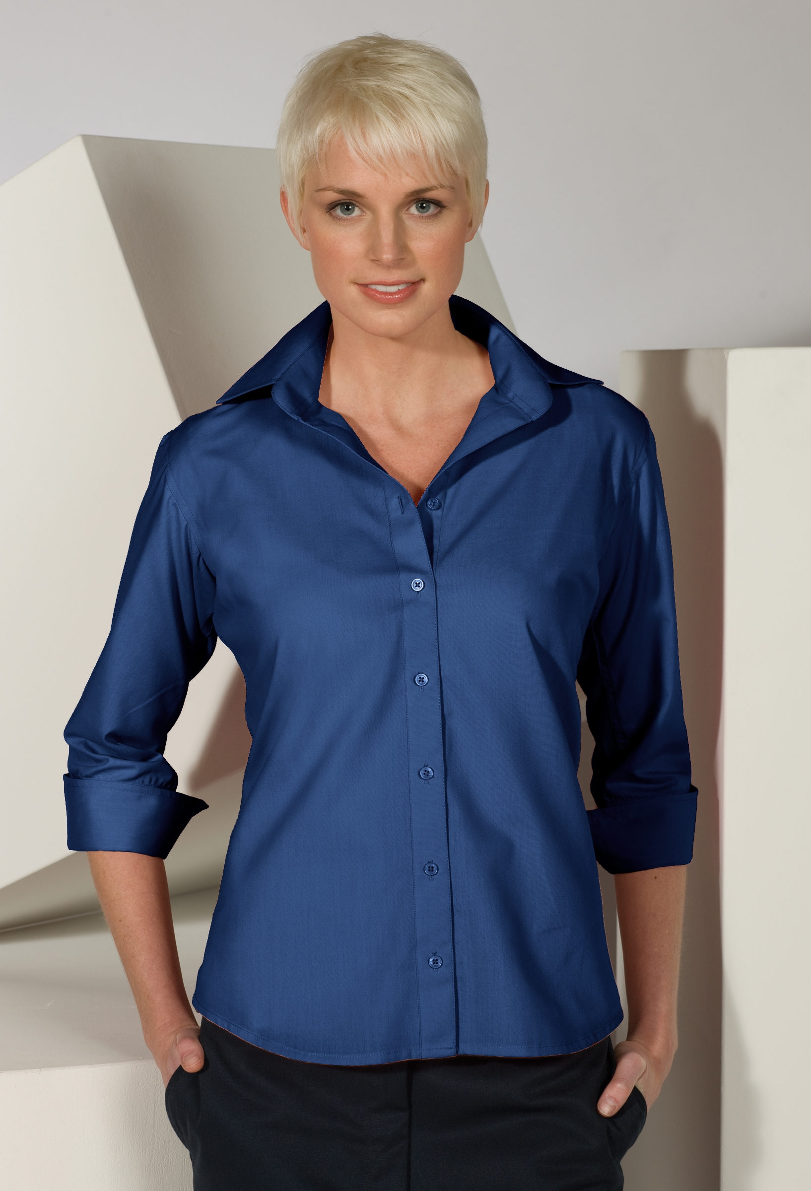 LHE5040-GP - Ladies V-Neck Button Up Poplin 3/4 Length Sleeve, Sizes XXSM- 3XL