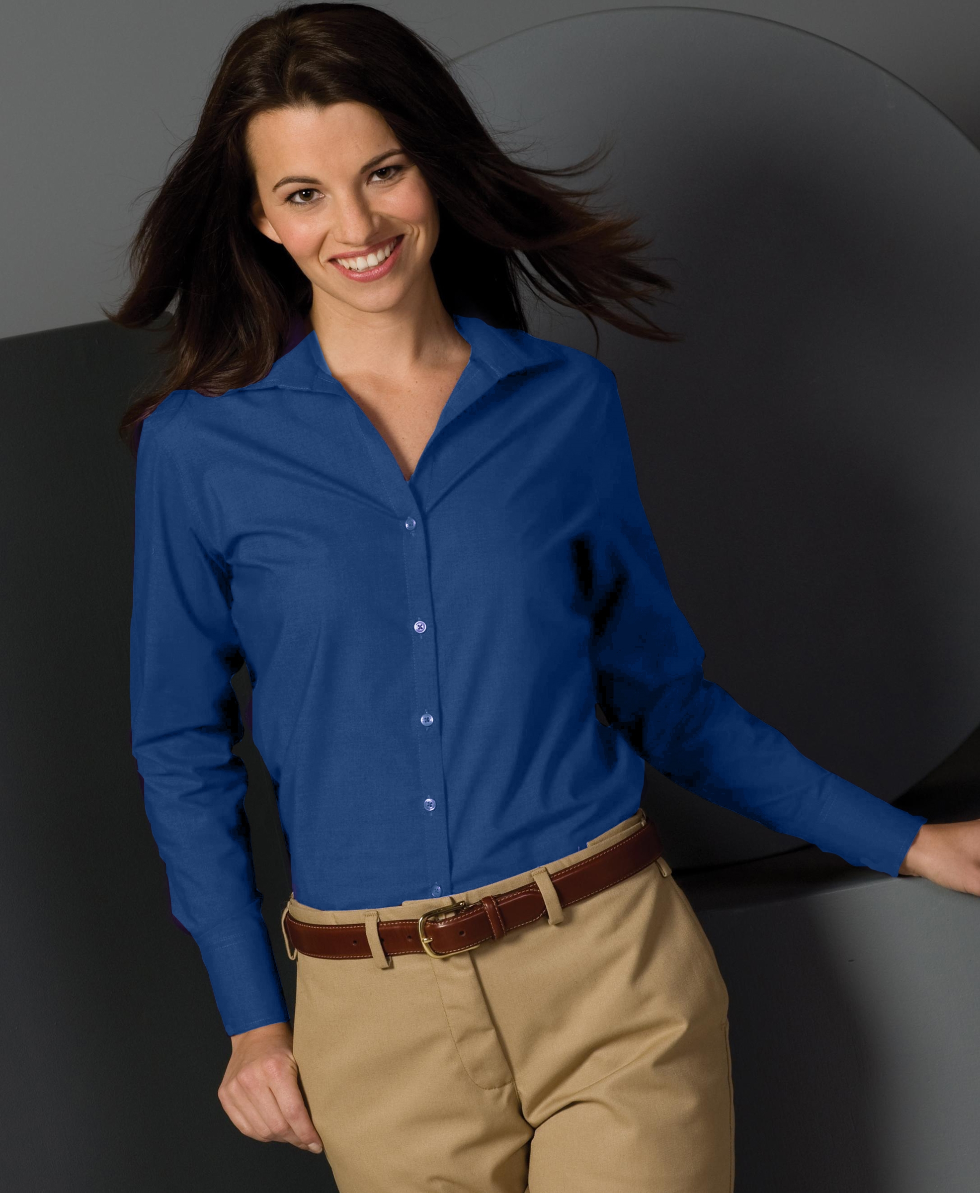 LLE5295-GP - Ladies V-Neck Button Up Poplin Long Sleeve Shirt. Sizes XXSmall-3XL