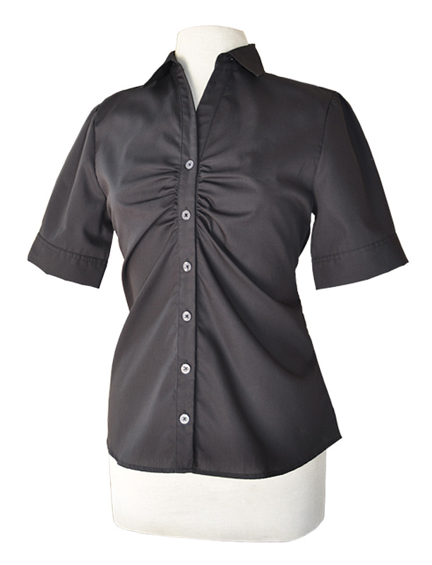 LH901M - NE - Ladies Short Sleeve Button Up with Placket Ruching