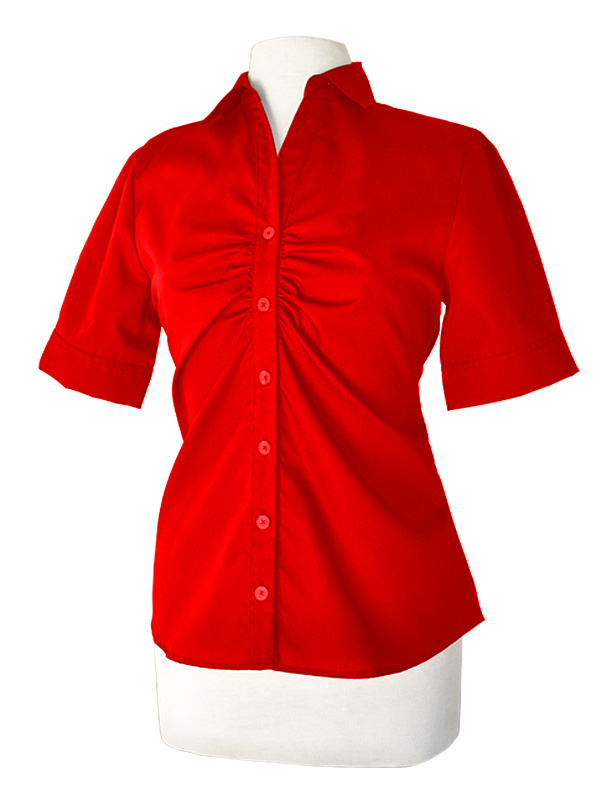 LH901M- Ladies Short Sleeve Button Up with Placket Ruching