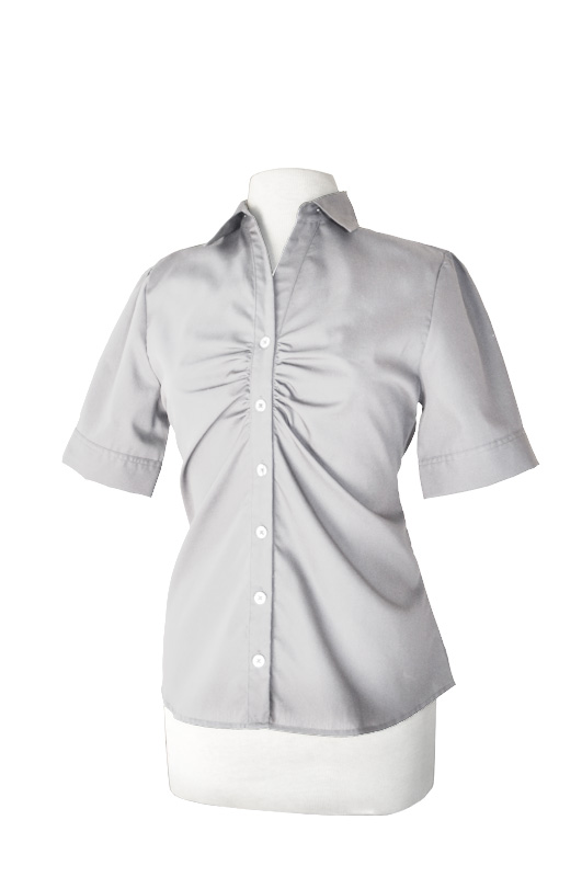 LH901M- ND - Ladies Short Sleeve Button Up with Placket Ruching