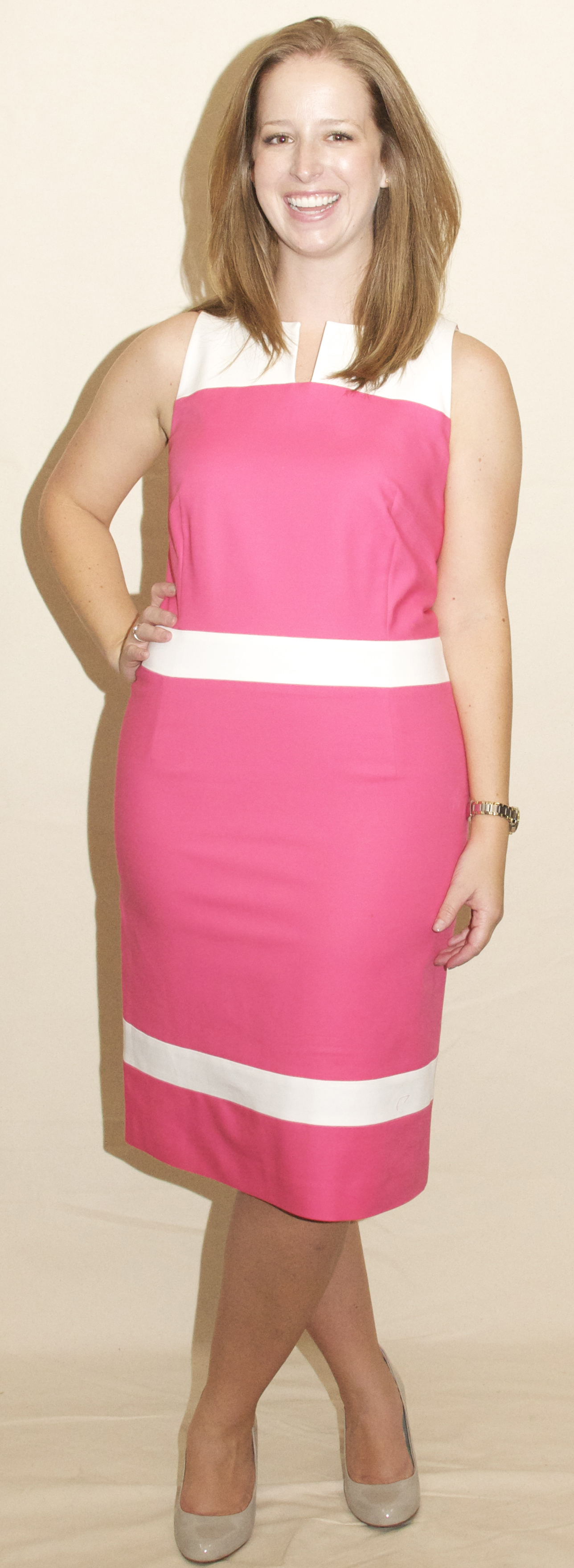 LD902M - Ladies Color Block Dress With Exposed Zipper