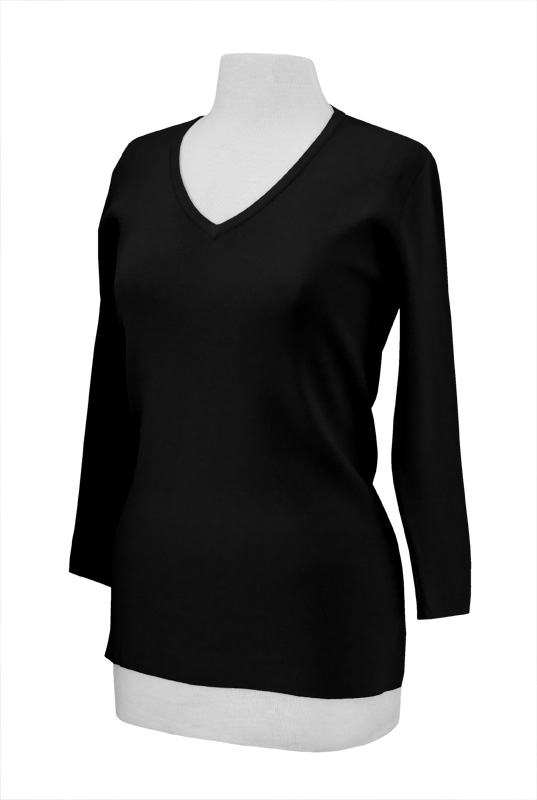 LH601 - PRM - V Neck Knit with 3/4 Length Sleeves