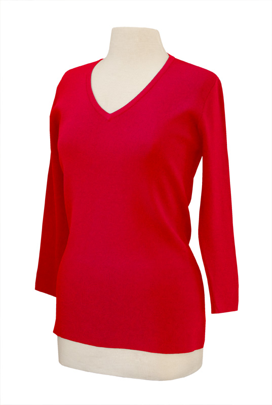 LH601-CHART-Ladies V Neck 3/4 Length Sleeve Knit