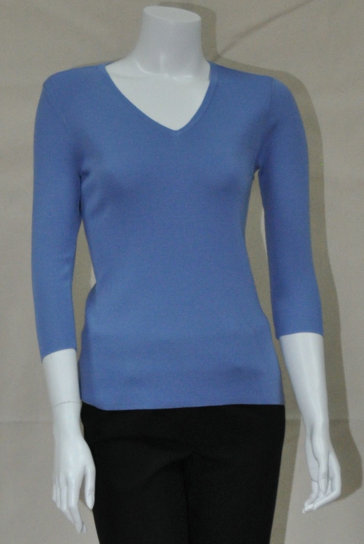 LH601 - NE - Ladies V Neck 3/4 Length Sleeve Knit
