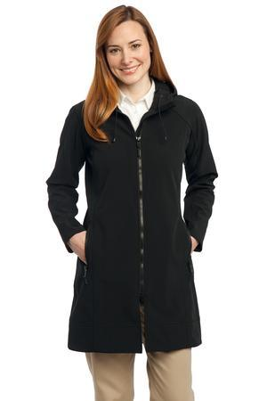 LJPL306 - Ladies Long Textured Hooded Soft Shell Jacket