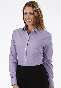LL13V0226 - Ladies Gingham Long Sleeve Button Up