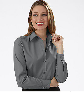 LL13V0114 - Ladies Silky Poplin Long Sleeve Button Up