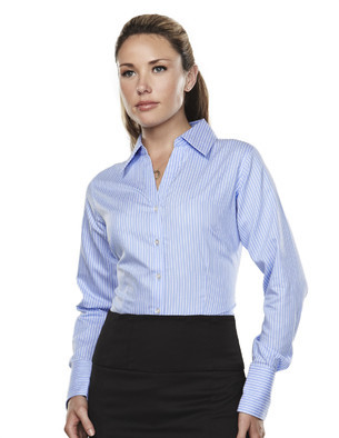 LLTM973 - Ladies Non-Iron Striped Button Down