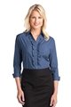 LHP644 - NE - Ladies Crosshatch Ruffle 3/4 Sleeve Shirt - LHP644-NE