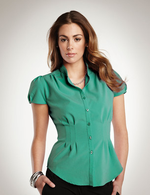 LHTMLB751 - Ladies Short Sleeve Button Up with Pleating